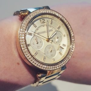 MICHAEL KORS GOLD AND DIAMOND DATE WATCH